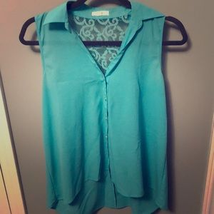 Teal Colored Tank with Lace Detail